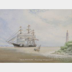 "American School, 20th Century      ""Sea Witch"" Departing Whampoa, 1847."