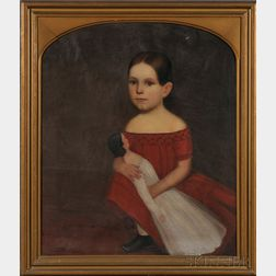 American School, 19th Century      Portrait of a Young Girl Wearing a Red Dress and Holding Her Doll