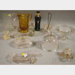 Twelve Pieces of Assorted Mostly Colorless Pattern Glass