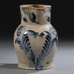 Cobalt-decorated Stoneware Pitcher