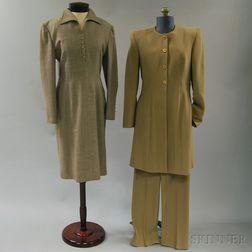 Brown Blended Wool Dress