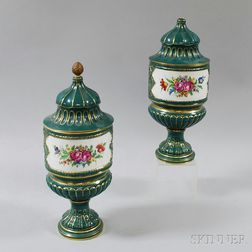 Pair of German Dresden-type Hand-painted Floral-decorated Porcelain Urns with   Covers
