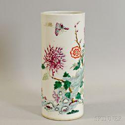 Famille Rose Cylindrical Vase