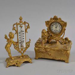 Art Nouveau Gilt-metal Desk Clock and Thermometer
