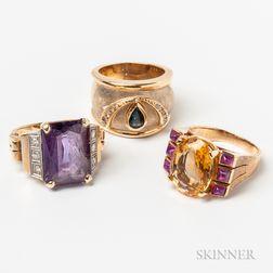 Three 14kt Gold Rings