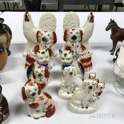 Six Pairs of Staffordshire Ceramic Animals