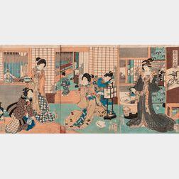 Utagawa Kunihiko (fl. 1850-1860), Triptych Woodblock Print