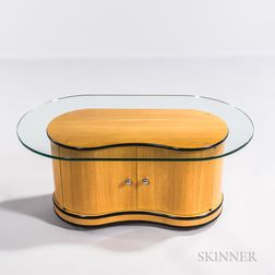 Blonde Wood Kidney-shaped Record Cabinet