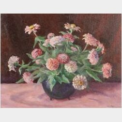 Ruth Linnell Berry (American, b. 1909)  Still Life with Pink Zinnias