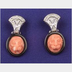 18kt White Gold, Coral and Diamond Earpendants
