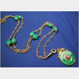14kt Gold and Jadeite Necklace