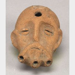 Phoenician Terracotta Musical Pipe in the Form of a Man's Head