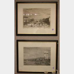 Lot of Two Framed Prints After Canaletto.