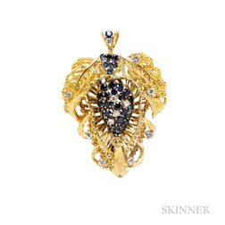 18kt Gold, Sapphire, and Diamond Pendant/Brooch