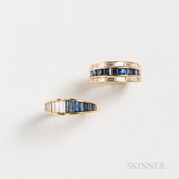 Two 18kt Gold, Sapphire, and Diamond Rings