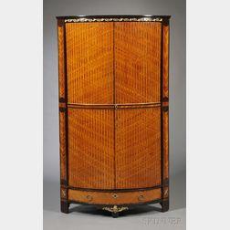 Louis XVI-style Gilt-bronze-mounted Inlaid Tulipwood and Kingwood Corner Cabinet