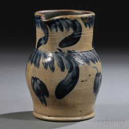 Small Cobalt-decorated Stoneware Pitcher