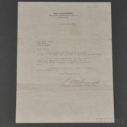 Roosevelt, Franklin Delano (1882-1945) Typed Letter Signed, 20 March 1918.