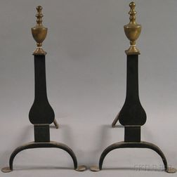 Pair of Urn-top Brass and Iron Knife Blade Andirons