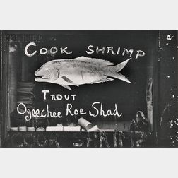 Walker Evans (American, 1903-1975)      Two Photographs: Painted Fish Store Sign, Savannah Vicinity, Georgia