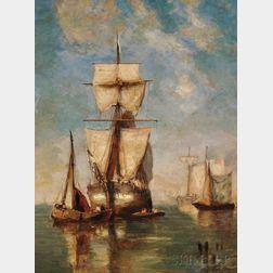Paul Jean Clays (Belgian, 1819-1900)      Sailing Vessels in Quiet Waters