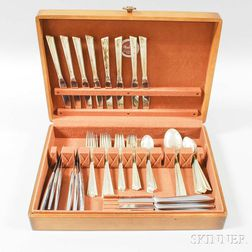 Stieff Modern Sterling Silver Partial Flatware Service for Eight