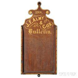 """Gilt Walnut """"J.F. ALMY & CO.S Bulletin,"""""""