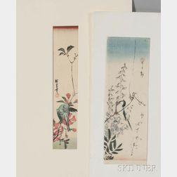 Utagawa Hiroshige (1797-1858), Two Bird and Flower Woodblock Prints