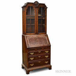 Queen Anne-style Walnut Veneer Glazed Secretary/Bookcase