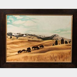Oil on Board Bison in the Yellowstone