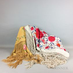 "Two Embroidered Export Macrame ""Piano Shawls,"""