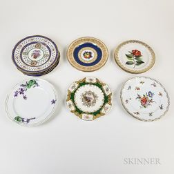 Thirteen English and Continental Porcelain Plates