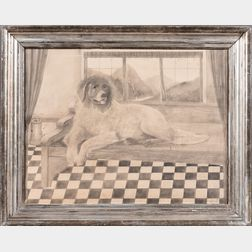 American School, Early 20th Century      Portrait of a Dog on a Bench on a Checkered Floor