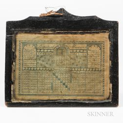 "Printed ""Perpetual Almanack"" in a Carved and Shaped Black-painted Frame"