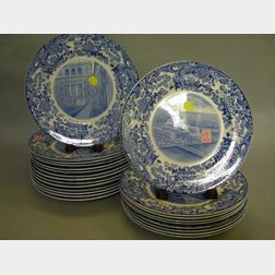 Set of Twenty-three Wedgwood Blue and White MIT Transfer Decorated Dinner Plates.