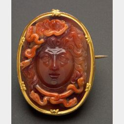 A Fine Antique Carnelian Cameo Brooch