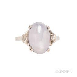 Palladium and Star Sapphire Ring