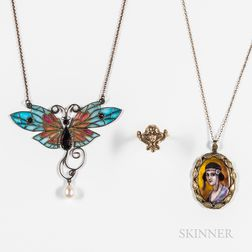 Three Art Nouveau Jewelry Items