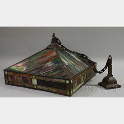Prairie School Type Brass and Leaded Slag Glass Pyramidal Hanging Lamp