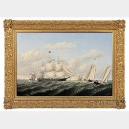 William Bradford (American, 1823-1892)      The Whaleship Speedwell of Fairhaven Outward Bound off Gay Head  , 1853.