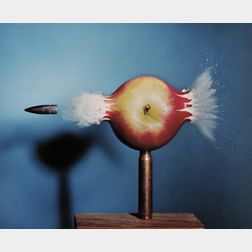 Harold Eugene Edgerton (American, 1903-1990)      Bullet Piercing an Apple