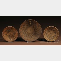 Three Southwest Coiled Basketry Bowls