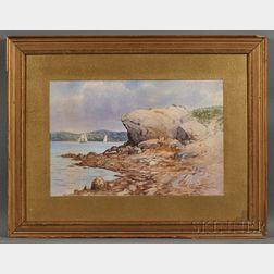 C. Myron Clark (American, 1876-1925)      Rocky Coast with Distant Sailing Vessels.