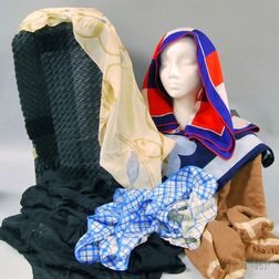 Group of Seven Silk and Cashmere Lady's Scarves