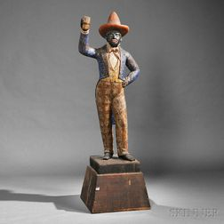 Polychrome Carved Black Dandy Tobacconist Figure