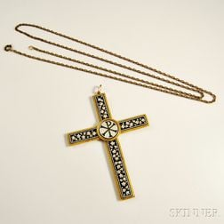 14kt Yellow Gold and Mosaic Cross