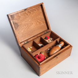 Butternut Sewing Box with Tools and Buttons