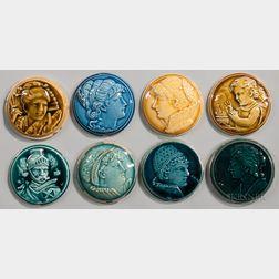 Eight Round Trent Tile Company Art Pottery Tiles