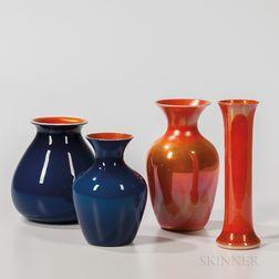 Four Imperial Art Glass Vases
