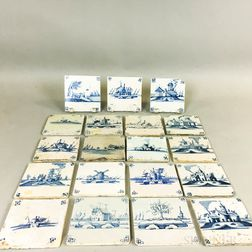 Nineteen Delft Blue and White Tiles